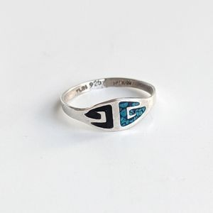 Turquoise Taxco Mexican Silver Ring Size 7.5